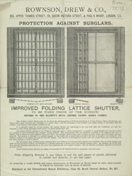 Advert for Rowson, Drew & Co, shutters